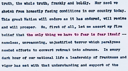 1st page of FDR text for his 1st inaugural address, National Archives