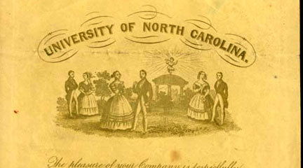 Illustration, Invitation to the 1843 Commencement Ball, May 1843, UNC.