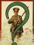 "Chromolithograph, ""An enquiry from the front,"" 1917, Library of Congress"