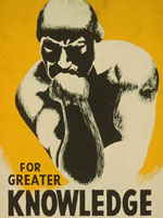 "Silkscreen, ""For greater knowledge. . . ,"" Federal Art Project, 1940, LoC"