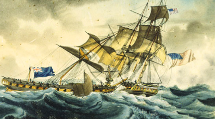 Watercolor, c. 1815, Guerriere and Constitution, Garneray, USS Constitution Mus.