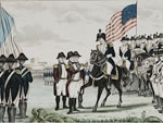 Hand-colored lithograph, Surrender of Cornwallis: at York-Town Va, Oct. 1781, N.