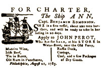 Advertisement for ship charter