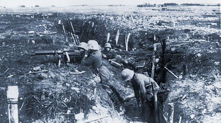 German machine gunners in a trench