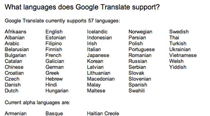 Screen shot, Languages supported by google translate, 1 april 2011