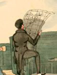 Watercolor, Viewing the coasts by the Chart, 1838-1839, William H. Meyers, NYPL