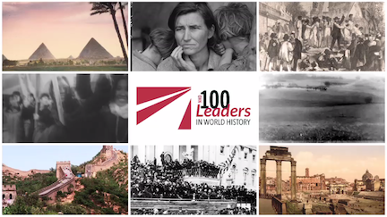 Red and white 100 Leaders logo surrounded by eight historical images.