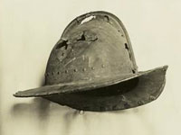 helmet worn by a pilgrim, image from New York Public Library