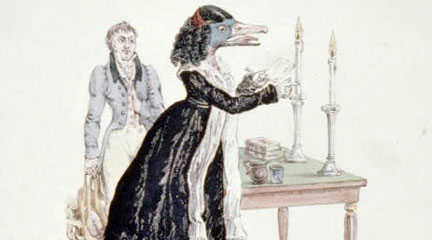 Print, A downright gabbler, or a goose that deserves to be hissed, 1829