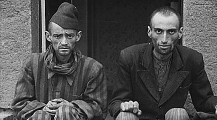 Photo, Two men sitting after liberation from Lager-Norhausen. . . , 1945, NARA