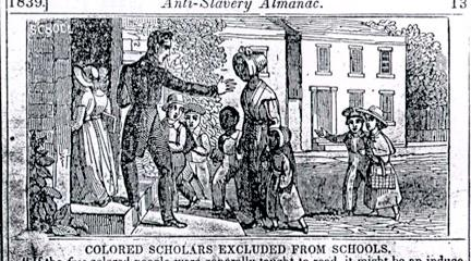 Cartoon, Colored Scholars Excluded from Schools, 1839, Anti-Slavery Almanac.