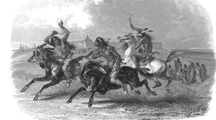 Engraving, Horse Racing of Sioux Indians..., 1804-1806, Original Lewis and Clark