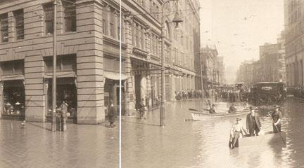 Panoramic Photograph, Fifth & Liberty Sts. flood of 1907, 1907, R.W. Johnston.
