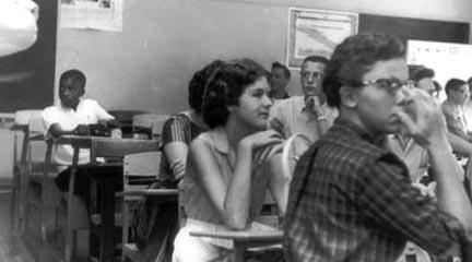 Photo, G. Roberts, sitting in integrated... Sept 4, 1957, J. Dumbell, Charlotte