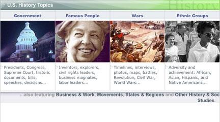 "Screenshot, ""U.S. History Topics,"" Federal Resources for Educational Excellence"