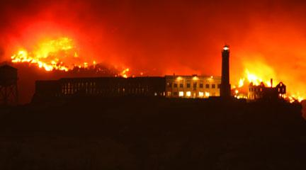 Photo, Angel Island Fire, Behind Alcatraz, October 12, 2008, LeeLeFever, Flickr