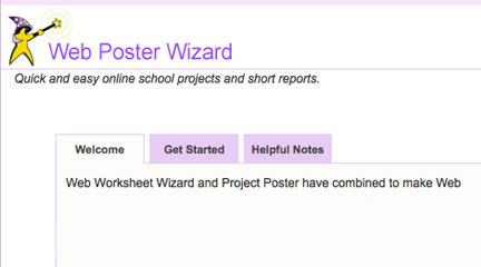 Screenshot, home page, Web Poster Wizard