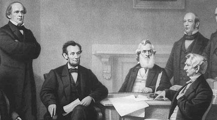 The first reading of the Emancipation Proclamation before the cabinet. 1862