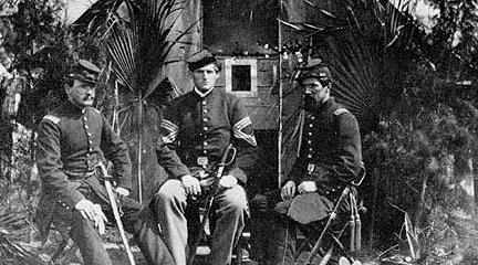 Photo. Capt. Benjamin Prouty, Capt. Gustavus S. Dana, and Capt. Klein. VA Tech