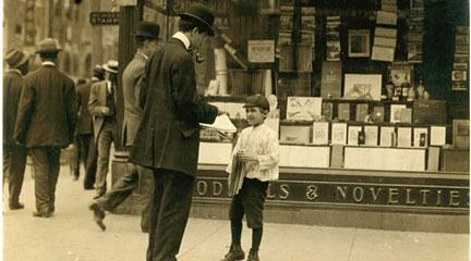 Photography, James Lequlla: Newsboy, May 1910, Lewis Wickes Hine, LOC