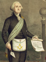 Detail of 1866 lithograph of Washington as a Freemason, Library of Congress