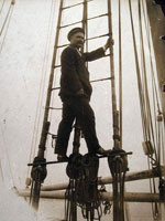 Photo, Captain George Comer of East Haddam in rigging..., 1907