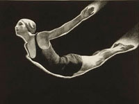 "Lithograph, ""Swan dive,"" Mabel W. Jack, 1939."