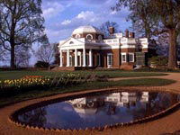 Photo, Monticello's West Front with Fish Pond, Thomas Jefferson Foundation