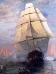 Oil on canvas, 1884, USS Constitution. . . , Davidson, USS Constitution Museum