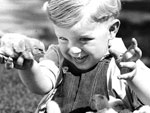 Photo, A small boy with chicks on a farm. . . , 1932, New York State Archives